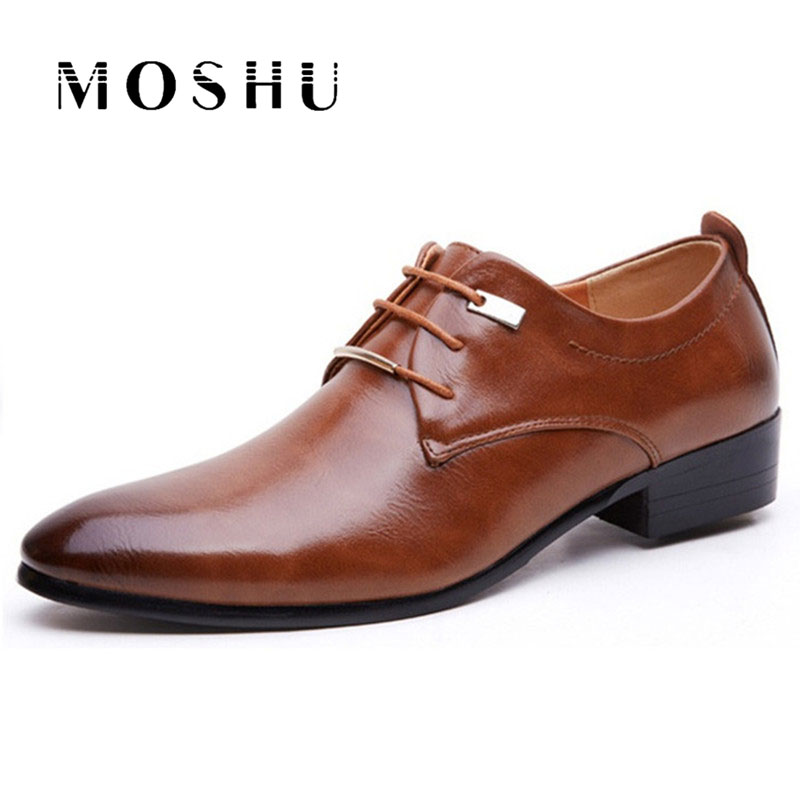 NEW Men Flats Leather Shoes Brogue Pointed Oxford Flat Male Casual Shoes Mens Luxury Brand Size 38-46