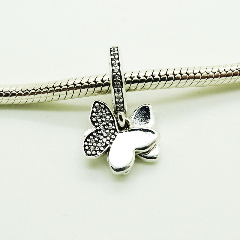 925 Silver Beads Fluttering Butterflies with Clear CZ Fits European Silver Charms Bracelet Women DIY Jewelry Silver Beads925 Silver Beads Fluttering Butterflies with Clear CZ Fits European Silver Charms Bracelet Women DIY Jewelry Silver Beads