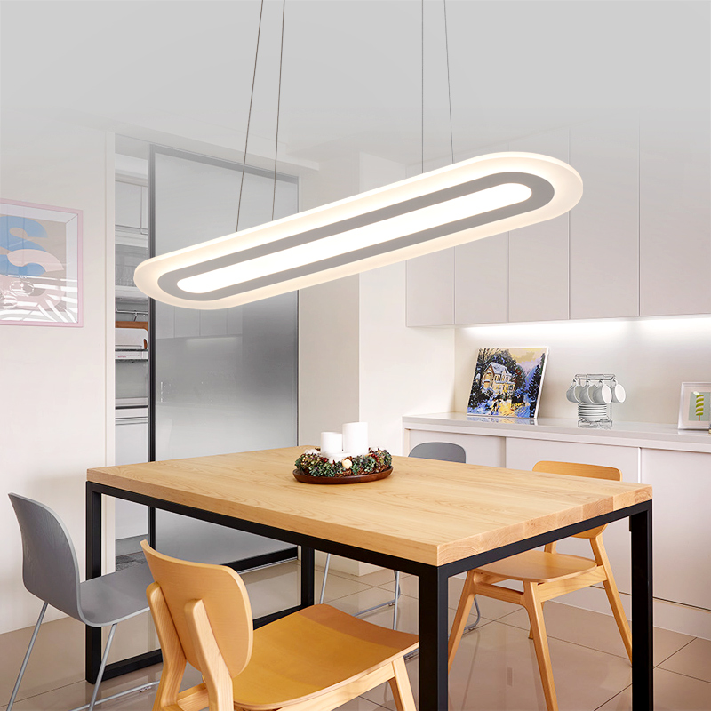 Office led chandeliers modern minimalist ceiling lamp creative personality studio rectangular strip hanging lamp lamps