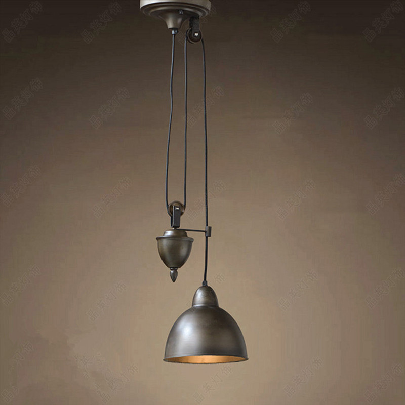 American Country Retro Pulley Pendant Lights Re Loft Lamp Hanging Light Fixtures Luminaria Home Lighting