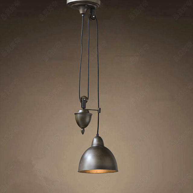 American Country Retro Pulley Pendant Lights Re Loft Lamp Hanging Light Fixtures Luminaria Home