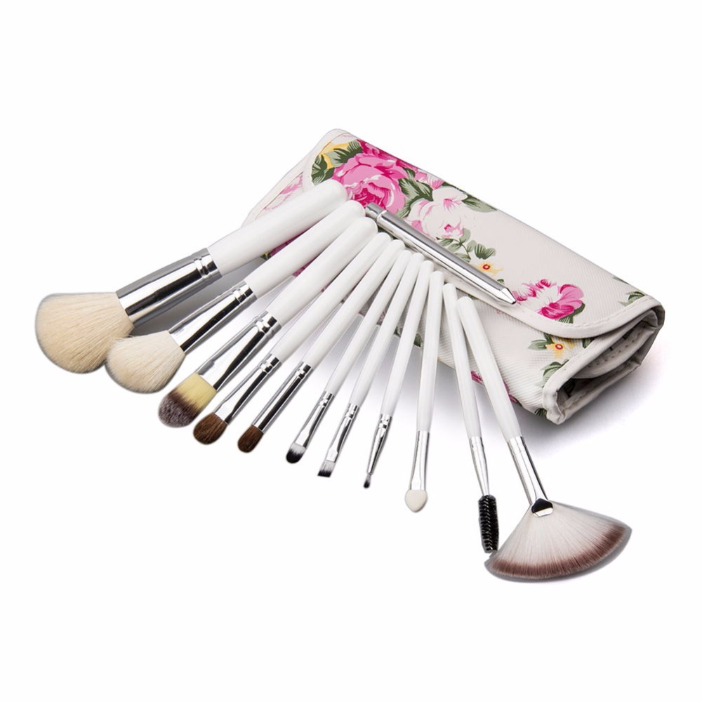 12pcs White Handle Makeup Brush With Flower Bag Professional Soft Hair Foundation Blush Concealer Make Up Brushes Cosmetic Tools