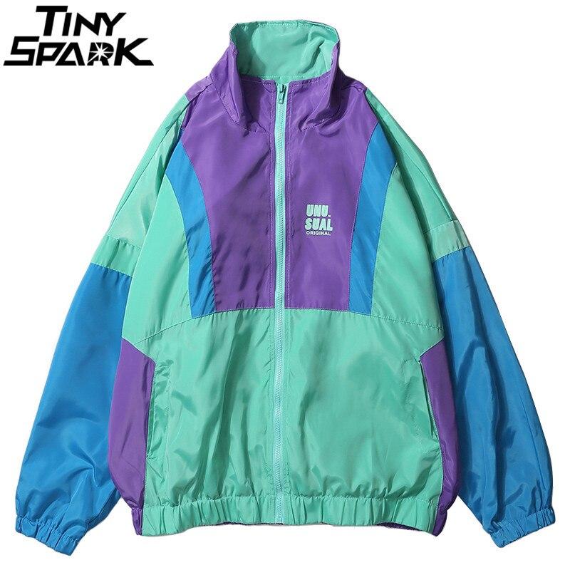 Осень 2018 хип-хоп ветровка куртка негабаритных Мужская Harajuku цвет блок куртка пальто Ретро Винтаж Zip Track куртка уличная