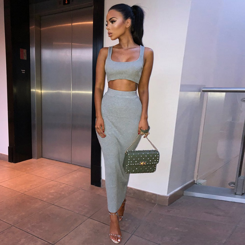 Dulzura neon ribbed knitted women two piece matching co ord set crop top midi skirt sexy festival party 2019 winter clothing 19