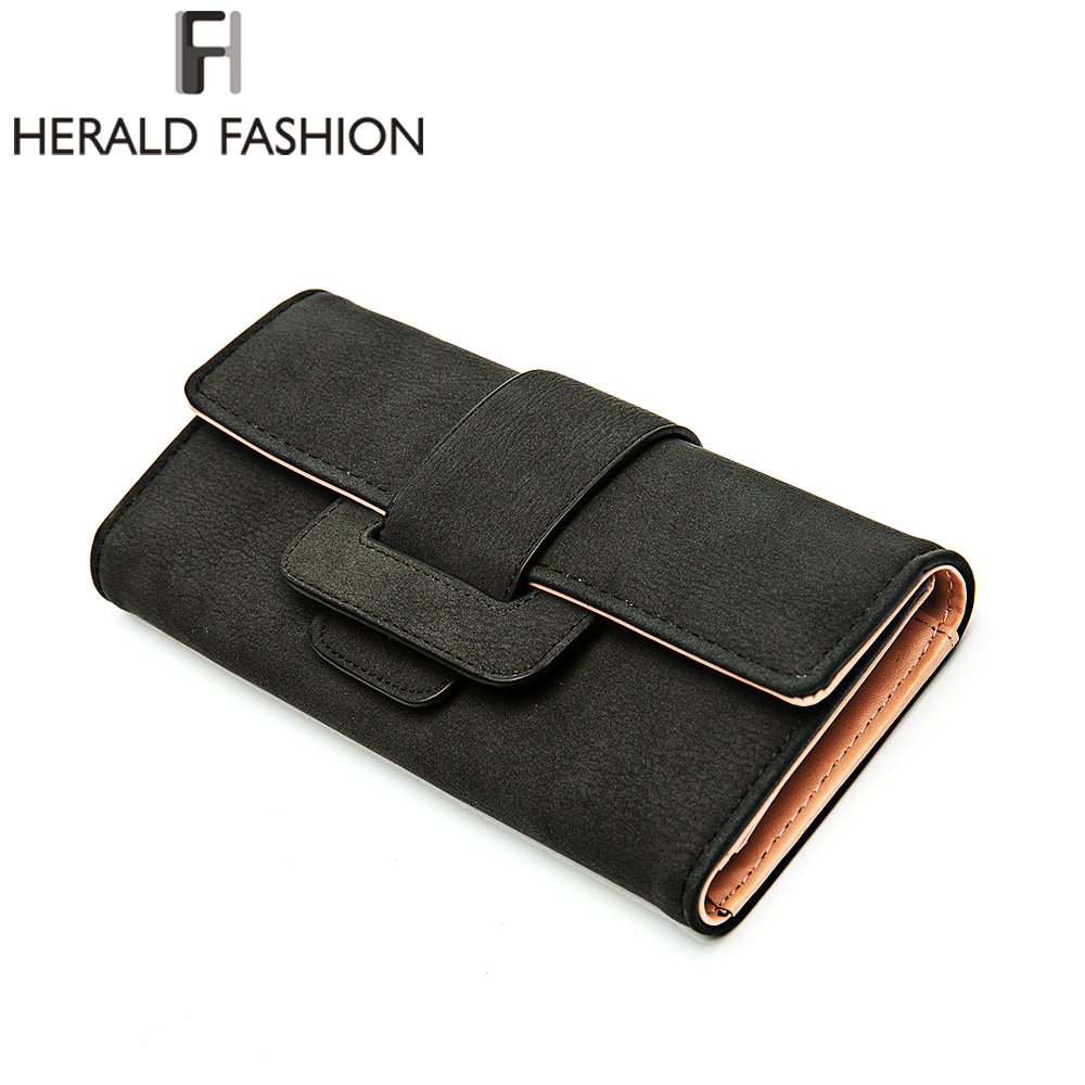 Herald Fashion High Capacity Casual Women Wallets PU Leather Wallet Long Design Ladies W ...