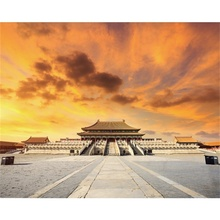 Laeacco Canvas Calligraphy Painting Posters and Prints Beijing Forbidden City Scenery at Sunset Wall Art Picture for Living Room