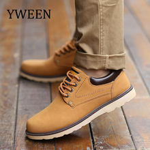 YWEEN Hot Sale Shoes Men Spring Autumn Casual Shoes Men Solid Lace-up Men's Shoes Fashion pu Leather Shoes