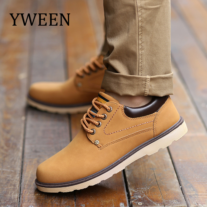 цены YWEEN Hot Sale Shoes Men Spring Autumn Casual Shoes Men Solid Lace-up Men's Shoes Fashion pu Leather Shoes