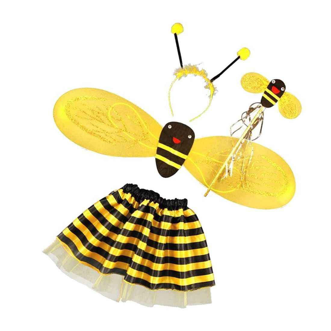 4Pc Bumble Bee Honey Girls Kids Fairy Halloween Fancy Dress Up Party Costume