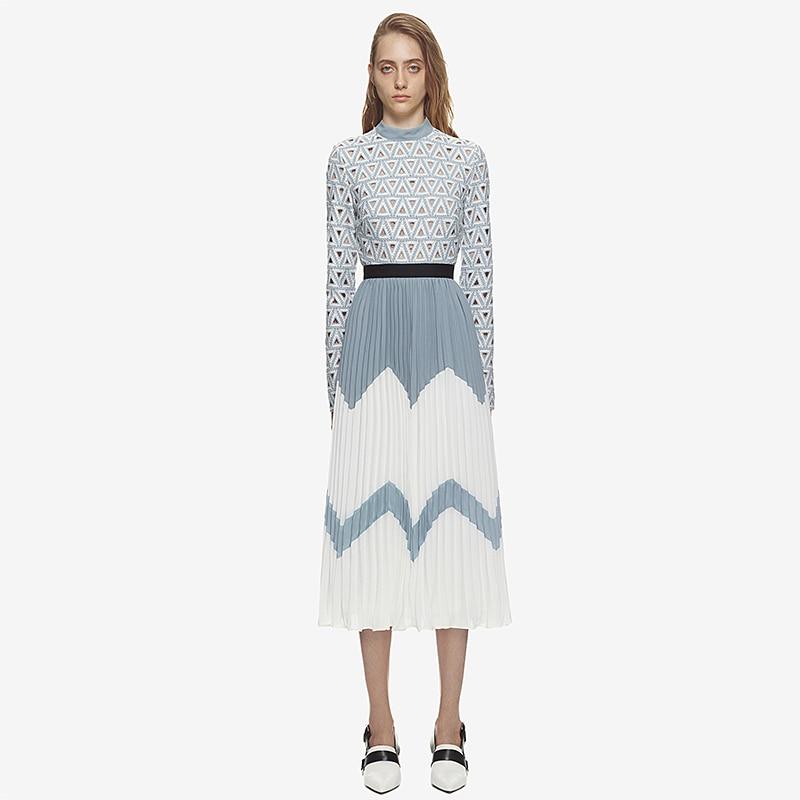 Robe autoportrait 2019 haut de gamme nouvelle mode été automne Vintage brodé robe plissée élégante fête femmes robe Midi