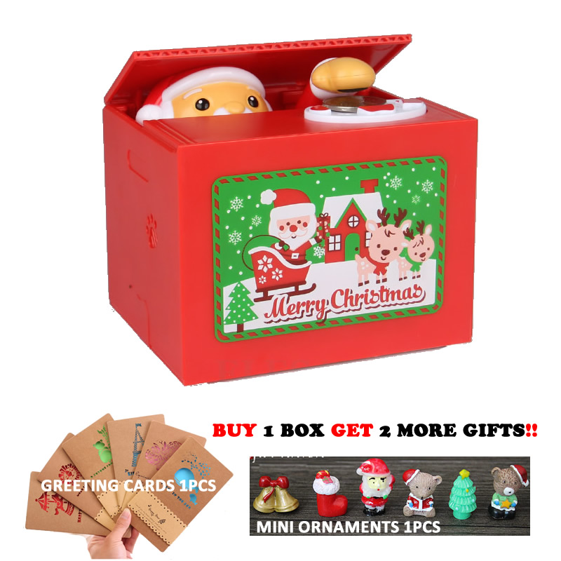 New Merry Christmas Santa Claus Electronic Piggy Bank Creative Money Box Auto Pick Coin Money Safe Box For Kids Gift Desk Toy