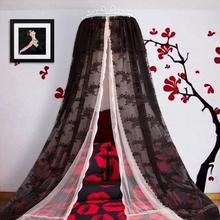 Роскошный дворец принцесса черный москитная сетка кровать мантия кровать занавеска кровать балдахин насекомое экран Кружева полые кованые железный каркас кровати