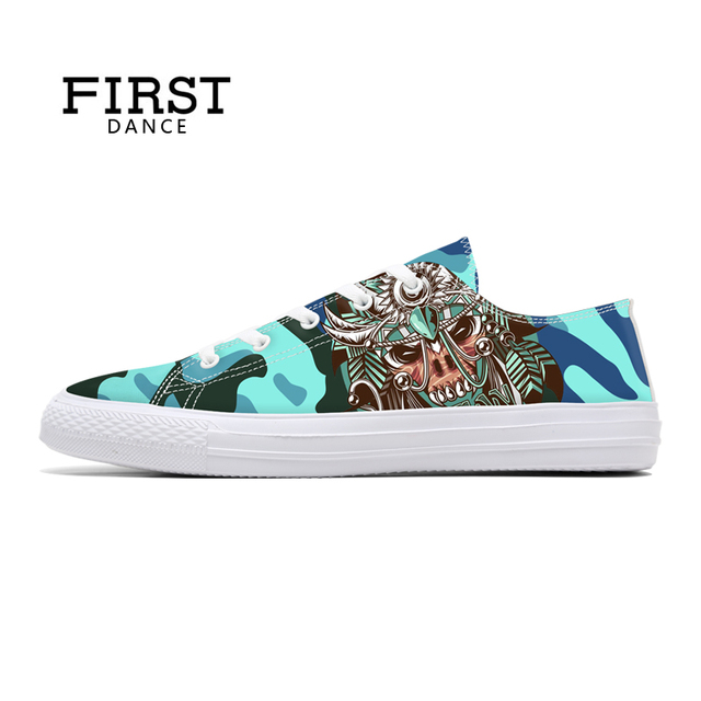 FIRST DANCE Fashion Printed Classic Canvas Shoes Men Nice Casual Camouflage Shoes Men Flats Breathable Walking Shoes Custom Flat