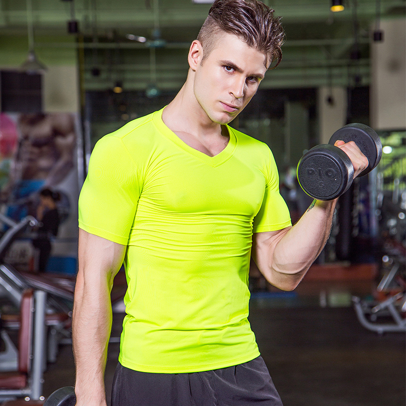 2018 Mens Sport T-Shirt V Neck Running Tops Tees Quickly Dry Tennis Jogger Jogging Sportswear Fitness Gym Short T Shirts Man