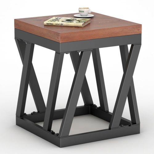 Wooden Side Tables For Living Room: Rustic Brown Small End Table Nightstand Chair Side Narrow