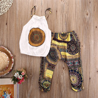 2pcs Toddler Kids Baby Girls Outfits Vest Tops Short Pants Clothes Set Chiffon 2017 Summer Style