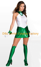 Free Shipping DHL Custom Made Sexy Shiny Metallic Womens Green Lantern Costume Adult Zentai Catsuit For 2016 Halloween GL0503
