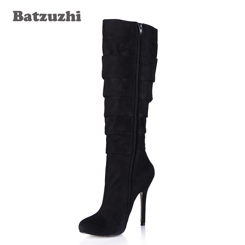 Batzuzhi-Sexy Women Boots Shoes Black Suede Leather Knee High Boots Women Pointed Toe for Women Party/Daily Dress, Big Size 43 batzuzhi 2018 handmade women shoes pointed toe 12cm long boots ladies white knee high party botas mujer winter big size 43