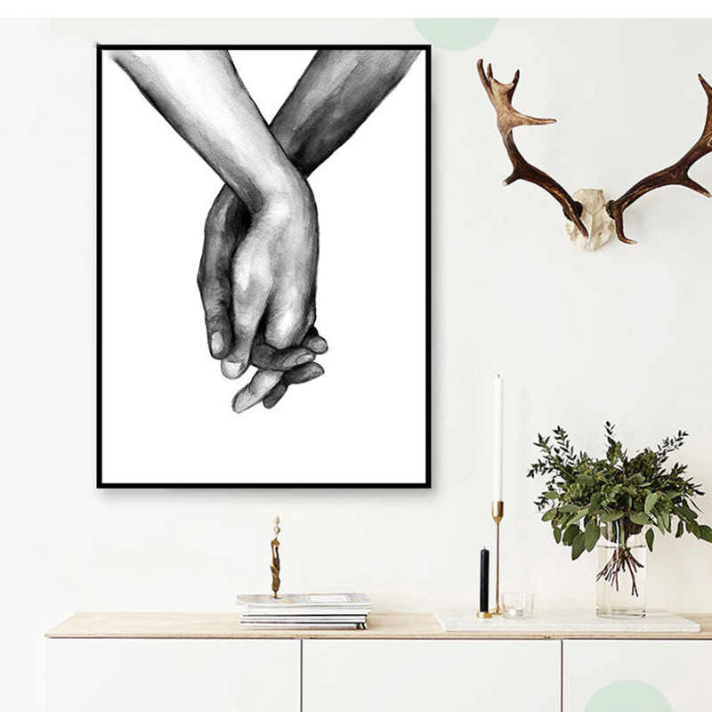 Fashion Nordic Poster Black And White Holding Hands Picture Canvas Prints Lover Quote Painting Wall Art For Living Room Decor
