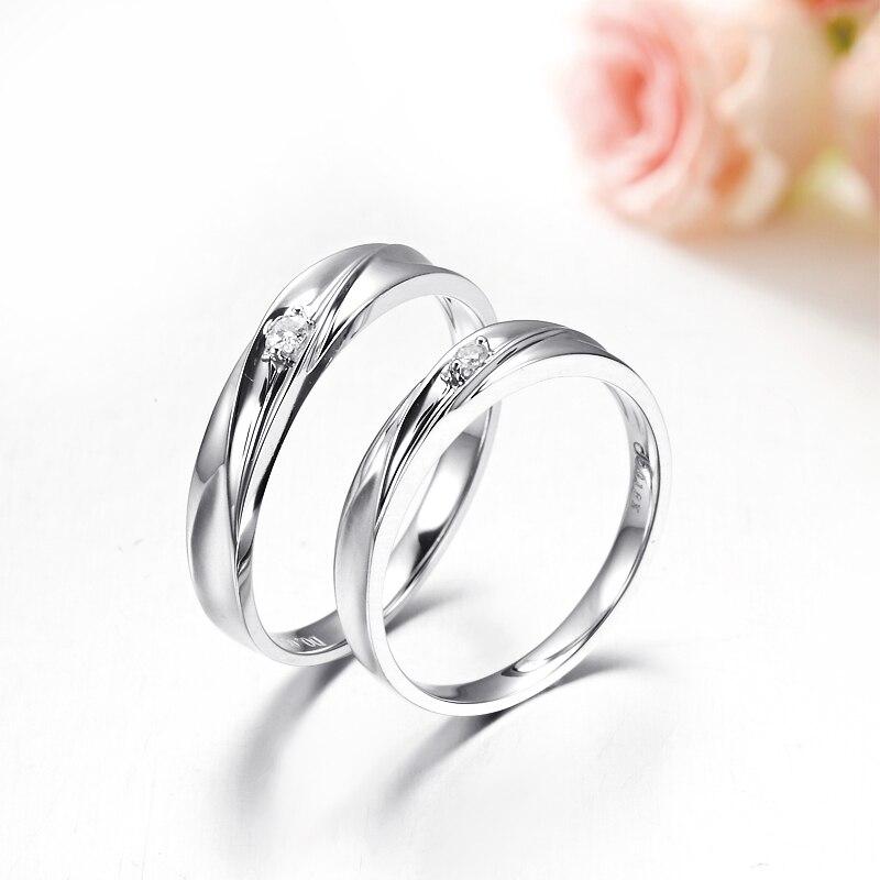 18 K Ouro Branco de Casamento Do Diamante Anéis Casal 0.03ct Homens +  0.02ct Mulheres Jóias Anéis de Noivado de Diamante Natural 5cbf87bf4d