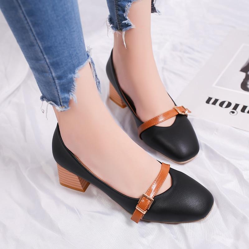 Mujeres Bombas Talones Zapatos Mujer Eleganet Grueso Talón Casual - Zapatos de mujer - foto 5