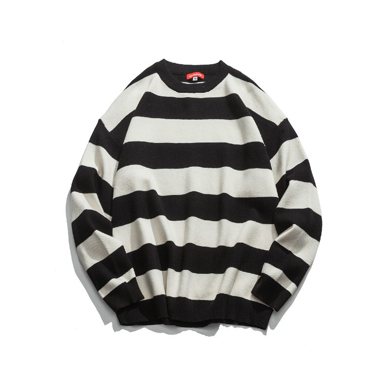 2018 Autumn And Winter Youth New Male Stripe Loose Round Neck Embroidery Long-sleeve Han Version Of The Trend Joker Sweater