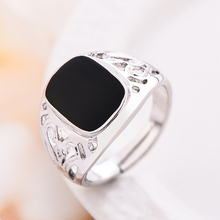 New Fashion Adjustable Ring Women Black Oil Painting Rings Women's Punk Jewelry Silver Ring Women Hollow-out Rings Jewelry Gifts punk style pure color hollow out ring for women