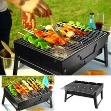 Portable Charcoal Barbecue Stove Folding BBQ Grills For Outdoor Camping Picnic Party Compact Suitcase Shape Easy Storage