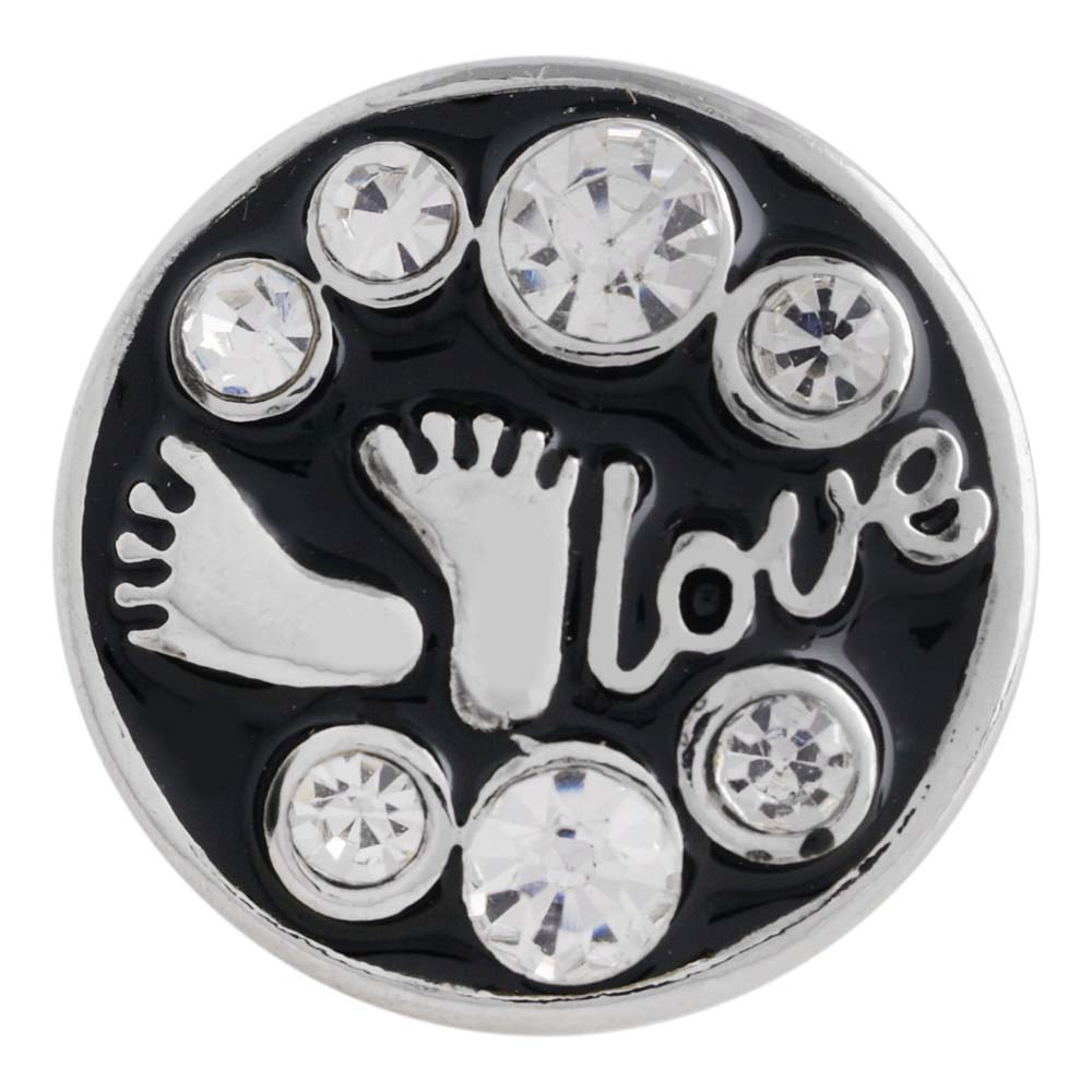 New Love Heart Snap Jewelry 18mm Silver Plated Black Enamel Baby Feet With Rhinestone Bu ...