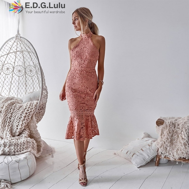EDGLulu women lace hollow dress evening party MIDI elegant vintage birthday 2019 spring summersexy ruffle fitted dress