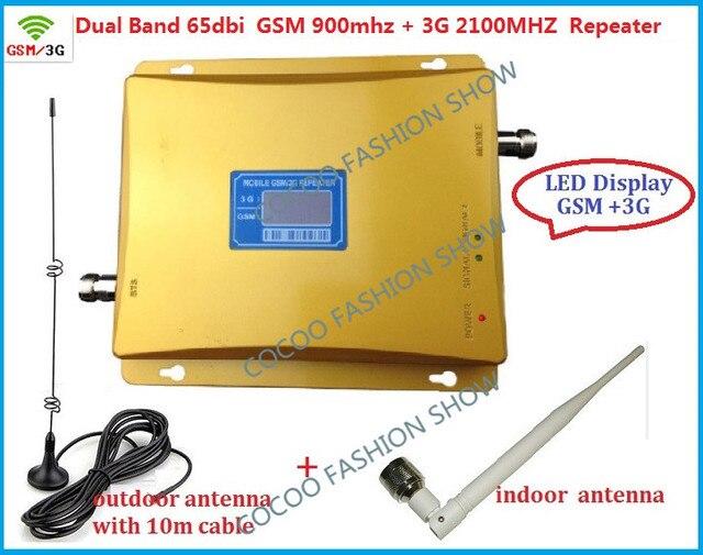 Mới nhất băng tần kép 2 gam 3 gam LCD tăng cường Tín Hiệu! GSM 900 GSM 2100 Điện Thoại Di Động Booster Amplifier 3 gam GSM Repeater + antenna tập hợp Đầy Đủ