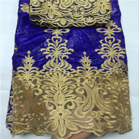 White Gold 2018 Laest African Beads Bazin Lace Fabric 5Yards With French Lace Embroidery Bazin Riche Getzner Fabric Online