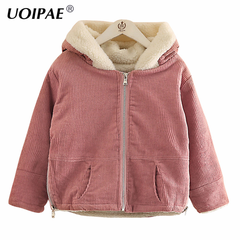 UOIPAE Girls Winter Jacket 2018 Casual Plus Velvet Thick Jacket Girls Coat Hooded Long Sleeve Solid Simple Kids Clothes B0936 2017 new winter fashion women down jacket hooded thick super warm medium long female coat long sleeve slim big yards parkas nz18