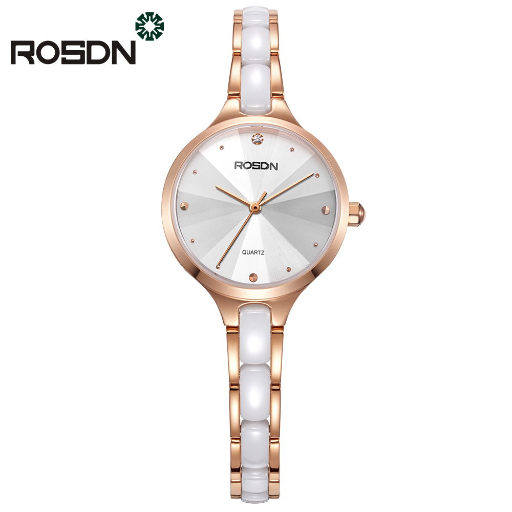 ROSDN Brand New Fashion luxury Elegant woman Watches Simple rose gold Casual Female Wrist watch Quartz Clock Women Watch relogio