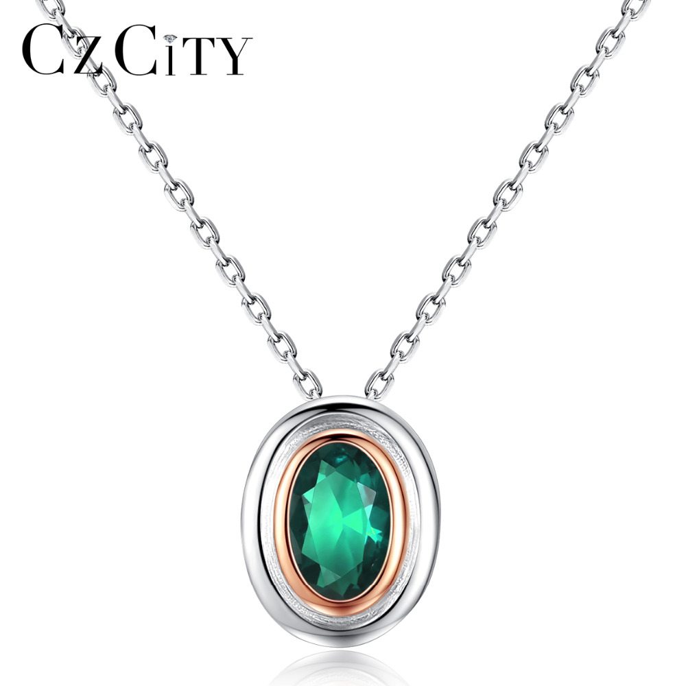 CZCITY Brand Silver 925 Sterling Necklace Fine Jewelry for Women Oval Design Pendant Necklace Classical Authentic Silver Jewelry