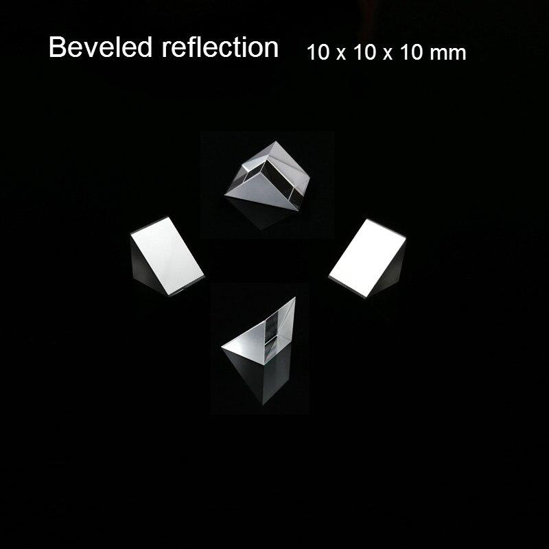 Optical Glass Triangular Prism Lsosceles K9 Tri With Beveled Reflecting Film Optics 10x10x10mm