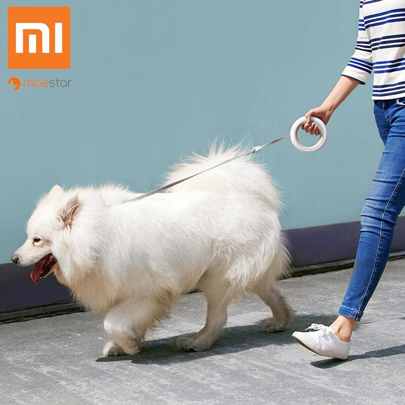 Xiaomi MOESTAR rétractable chien laisse anneau Led éclairage Flexible collier pour animaux de compagnie chien chiot Traction corde ceinture longueur 2.6 M Smart Remote