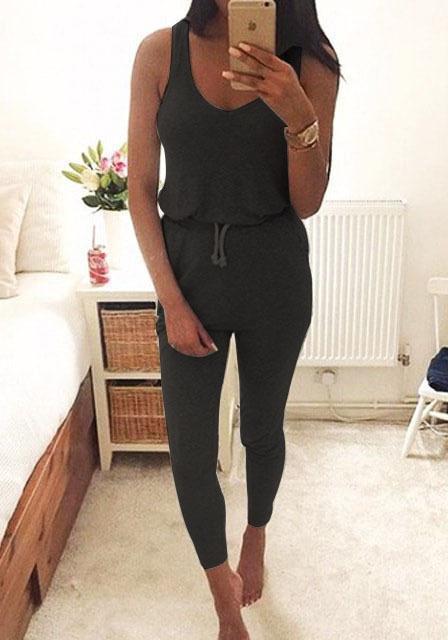 Venta caliente Del Verano Escotado Mamelucos Womens Jumpsuit Negro Elástico de La Cintura Correa de Mangas Largas Pantalones Playsuit Monos de Bolsillo