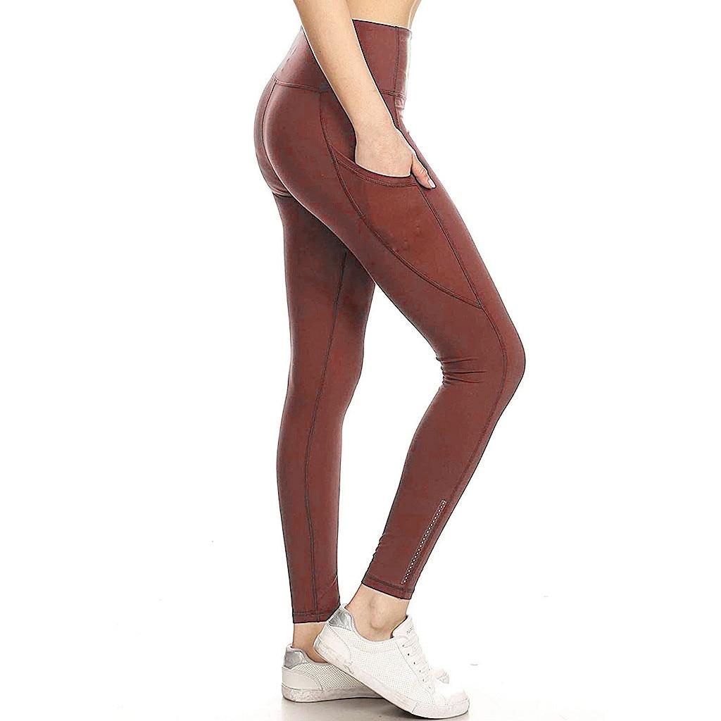 YUNNNY Women Black Fitness Leggings Ladies High Waist Push Up Leggings Womens Stitching Hips Leggings