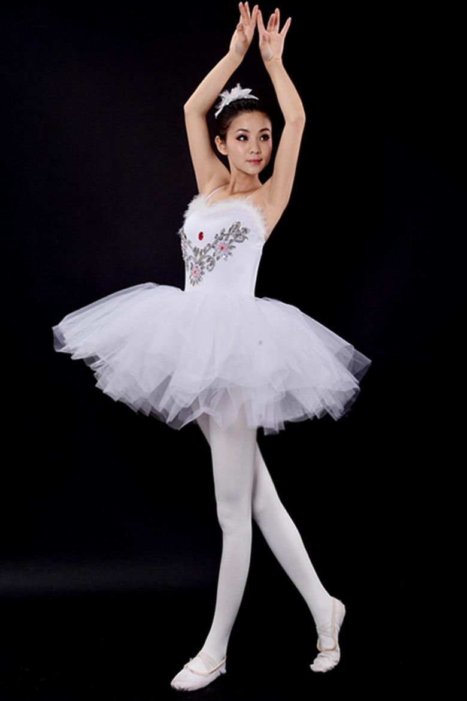 White Diamond Long Ballet Tutu Dance Dress Girls Professional Leotard