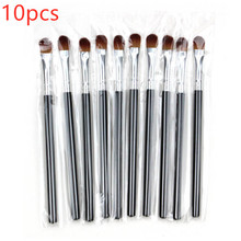 10pcs small eye shadow brush lip beauty tools Nylon Plastic Eye Brush Shadow Tool Handle Black Makeup Kits