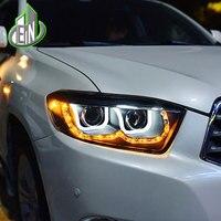 Car Styling Head Lamp Case 2009 2011 For Toyota Highlander Headlights LED Headlight U Angel Eyes DRL H7 HID Xenon bi xenon lens