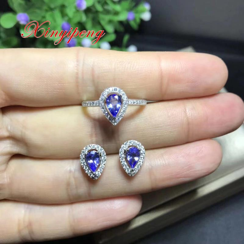 Xin yi peng 925 silver inlaid natural Tanzanite ring earrings jewelry suit women suit and generous Anniversary giftXin yi peng 925 silver inlaid natural Tanzanite ring earrings jewelry suit women suit and generous Anniversary gift