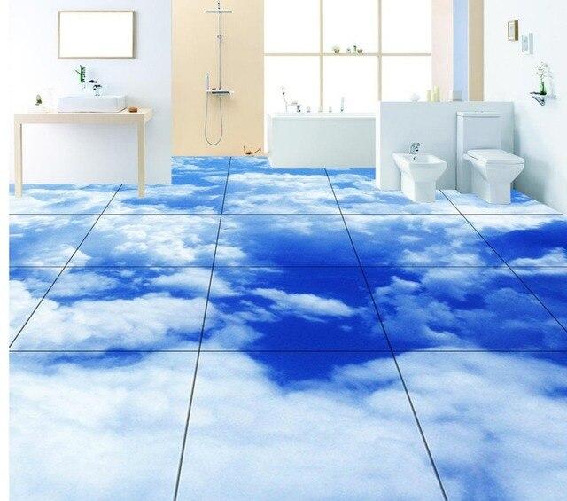 Dekorative 3d boden blauen himmel und weiße wolken ...