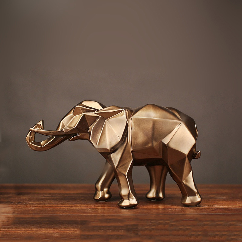 Modern Abstract Gold Elephant Statue Resin Ornament Home Decoration Accessories Gifts Elephant Sculpture Animal Crafts