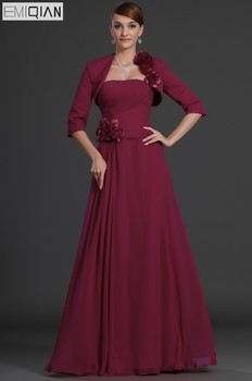 Elegant Plus Size Burgundy Mother Of The Bride Dresses With Jacket Strapless A Line Long Mother Evening Gowns Custom Made
