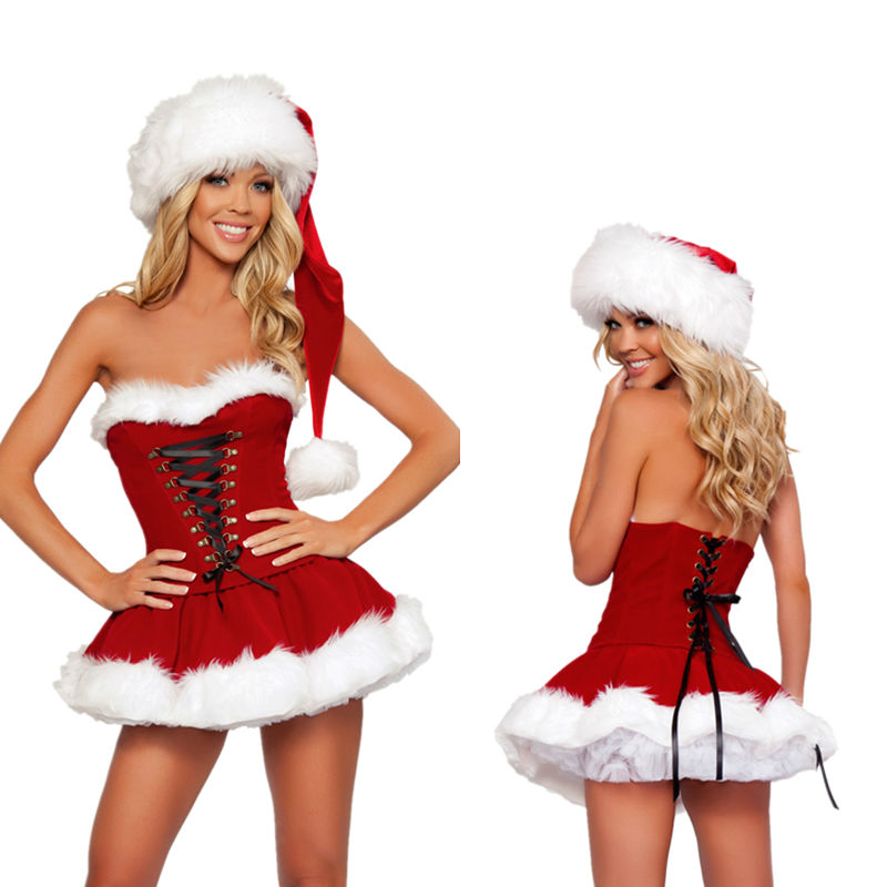 Adult Women Sexy Xmas Velvet Dress Mrs Santa Claus Party Fancy Dress with Hat