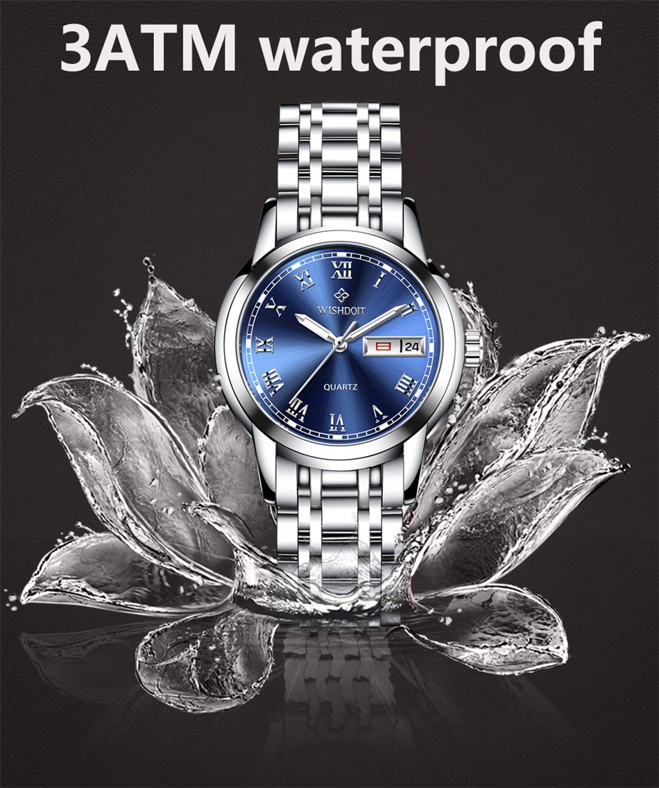 d6a86fc2b76 WISHDOIT Fashion Casual Quartz Watches Stainless Steel Women Watch ...