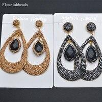 Wyjątkowa Moda Wedding Party Biżuteria Betonowa Kryształowe Koraliki Naturalny Czarny Onyks Kamień Spadek Double Layer Dynda Kolczyki