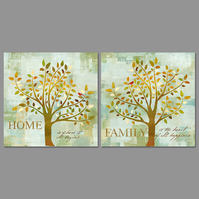 2Pcs/set Modern Flowers Trees Decoration Home Family Leaves Wall Art ...